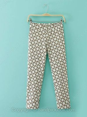 White Geometric Print Fashion Pant -$20.99