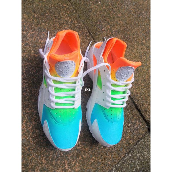 Ombre Neon White Nike Air Huarache Tie Dye Huarache Unisex Neon Nike... ($186) ❤ liked on Polyvore featuring shoes, sneakers, grey, sneakers & athletic shoes, tie sneakers, unisex adult shoes, waterproof shoes, white leather trainers, summer sneakers and summer shoes
