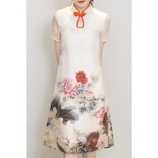 $22.25 Elegant Mandarin Collar Short Sleeve Floral Women's Dress