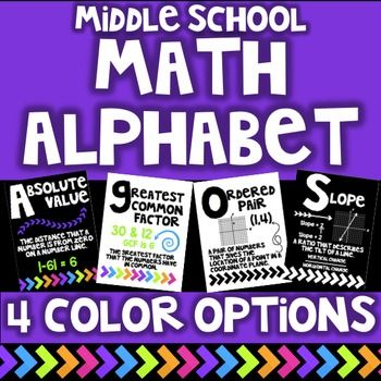 This set includes a full page alphabet posters for the middle school math classroom. This could also be used in the Secondary classroom!There are 4 color options for printing included.This is a great bulletin board display for your students!The following words are included.Absolute ValueBaseCoefficientDiameterEquationFactorGreatest Common FactorHypotenuseIntegerJustifyKilometerLeast Common MultipleMeanNumeratorOrdered PairPerpendicular LinesQuadrantsRelationSlopeTrapezoidUnit RateVariable…