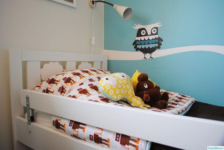 robot,sängkläder,ugglor,barnrum,väggmålning,bagerica
