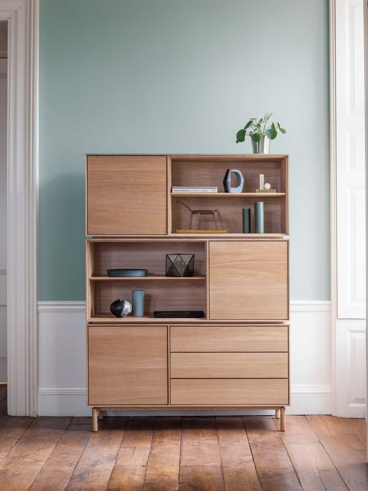 Ercol unveils its new Modulo collection of modular cabinets, made from solid white oak.