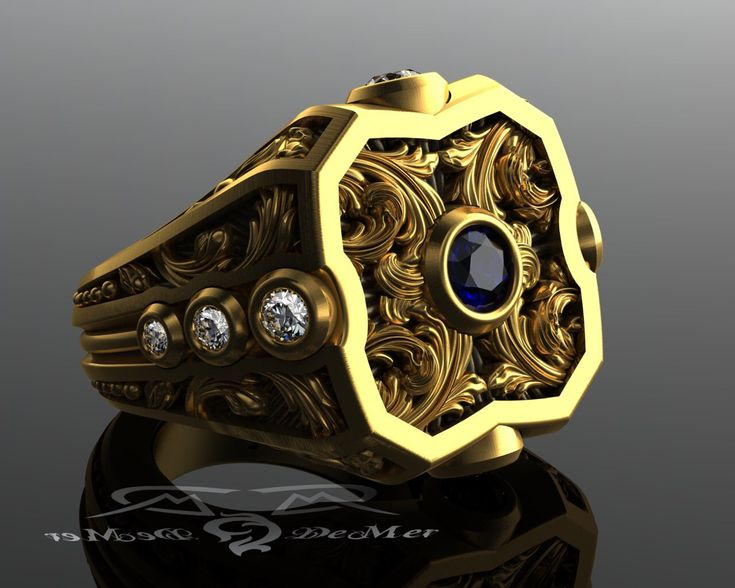Damask engraved sculpted blue sapphire, champagne and round diamond mens solid gold scroll work power ring. Large Victorian scrolls. by DeMerJewelry on Etsy https://www.etsy.com/listing/244705449/damask-engraved-sculpted-blue-sapphire