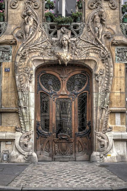 Art Nouveau entrance in Paris with great surround