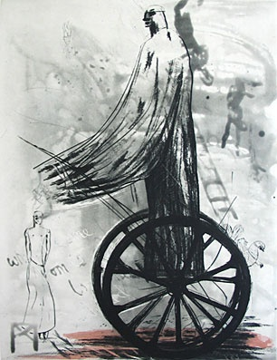 Deborah Bell - 'Thunder' (2006),  drypoint, spitbite, handpainted on paper