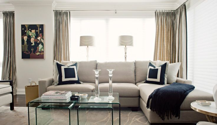 acrylic waterfall tables, rug. Marina Del Rey | Elizabeth Metcalfe Interiors, Interior Designers | Toronto, ON