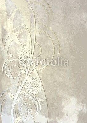 Sfondo con fiori e riccioli - Background with flowers and swirls