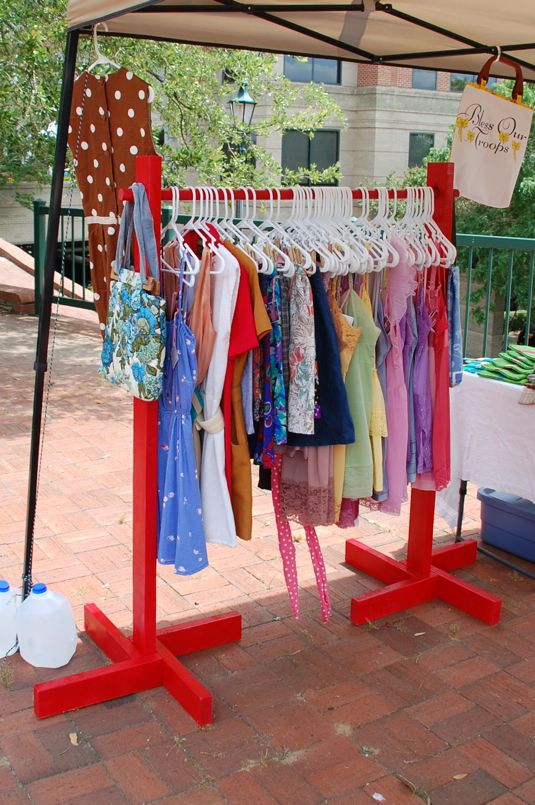 @Mary Kramer Lenzendorf - thinking of the garage sale already! Maybe rod can make alot of clothes racks like this? I'm trying to figure out how to make one tht doesn't tip over from the weight loke last year lol
