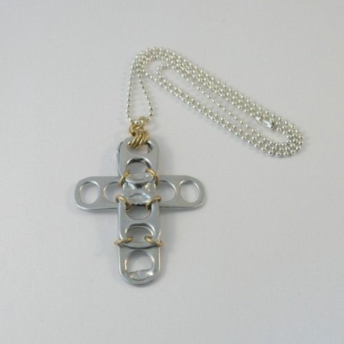 Soda tabs made into cross pendant. This is so cool! Why didn't I think of this?