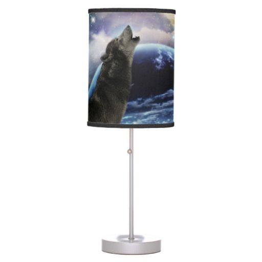 Wolf howling at the moon lamp