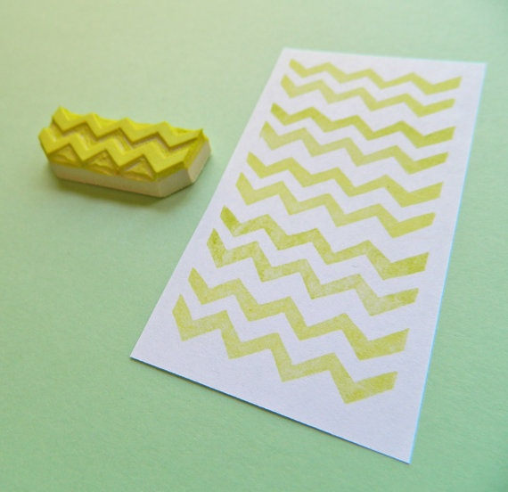 Mini Chevron Pattern Maker Hand Carved Rubber Stamp by creatiate