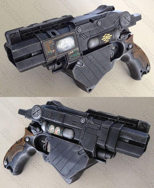 Nerf Vortex Proton Fallout Vault-Tec blaster pistol with integrated PIP-Boy.