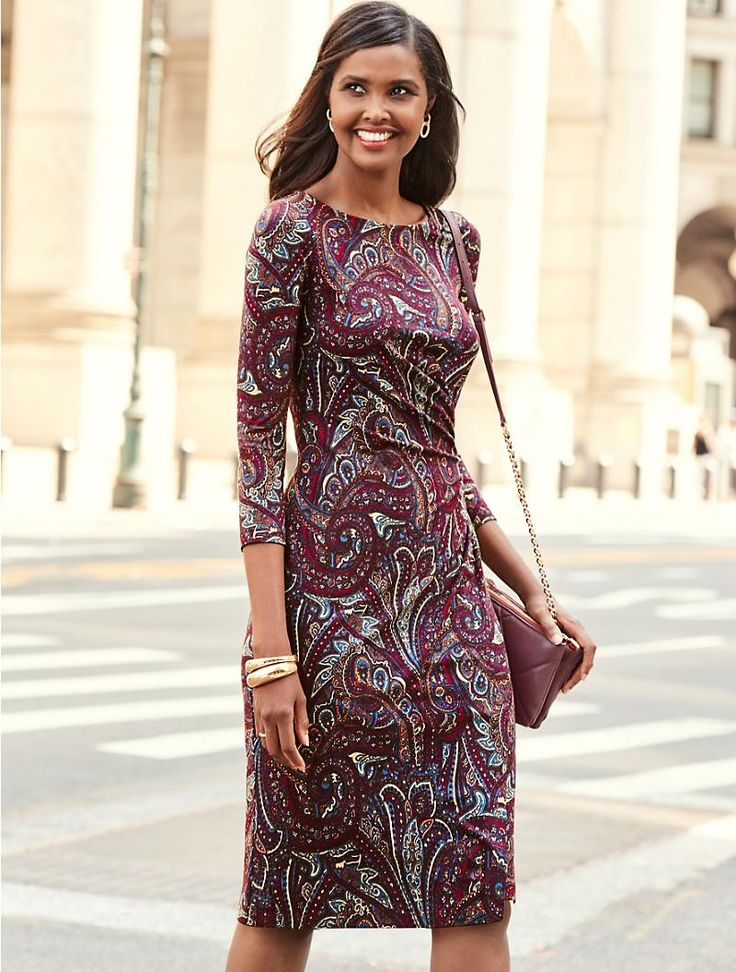 A flattering and feminine side-wrap paisley dress.
