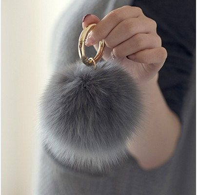 Real Fur Ball Keychain Pom Pom Fluff Ball Key chain Handmade fur Bag Charms Multicolor for chooose