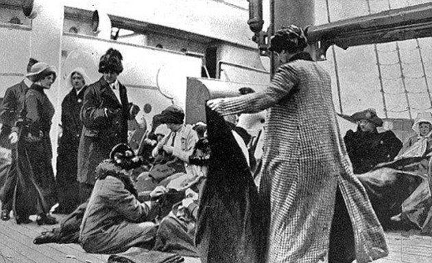 Titanic survivors aboard the Carpathia.