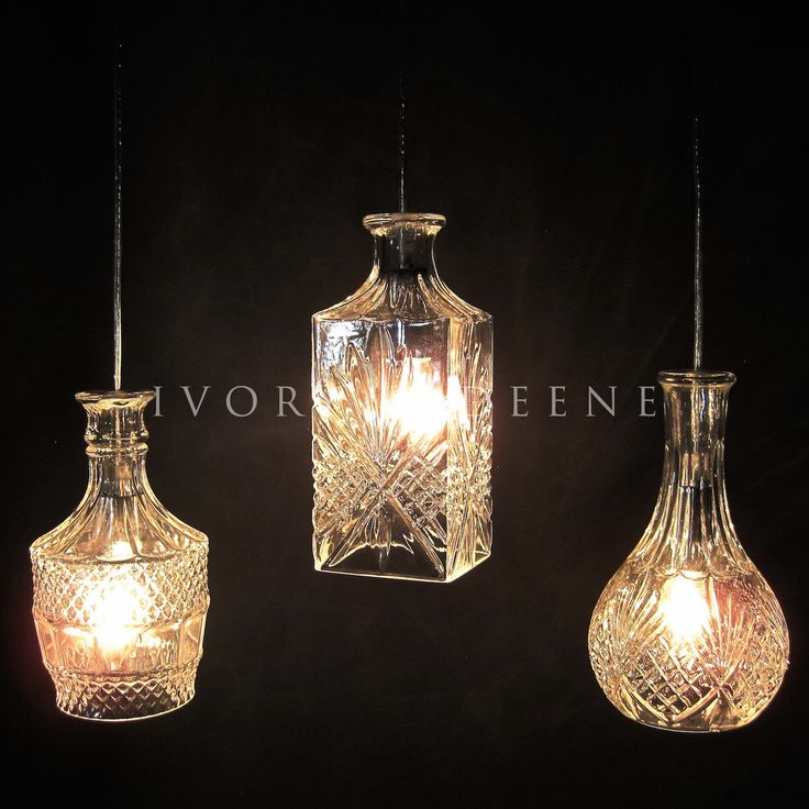 Crystal Wine Decanter Pendant Light - Glass and Chrome Fittings