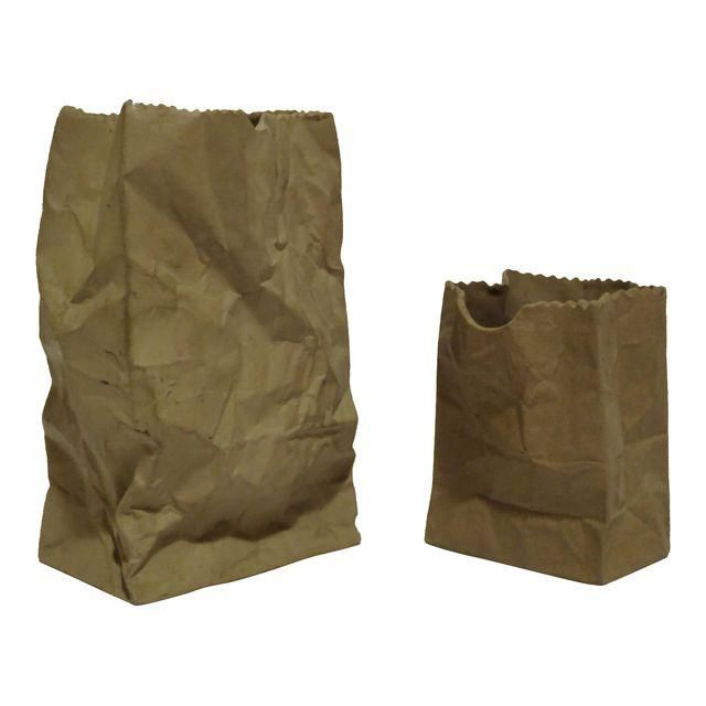 Image Of Porcelain Wrinkled Paper Bags   A Pair