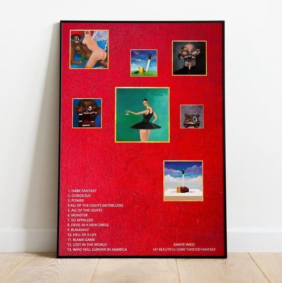 Kanye West My Beautiful Dark Twisted Fantasy Album Poster Wall Art Print Kanye West My Beau Beautiful Dark Twisted Fantasy Dark And Twisted Kanye West