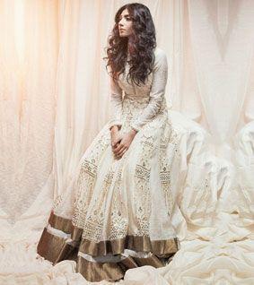 Off White Slub Chanderi Thread Work & Sequined Anarkali Suit