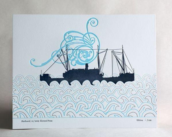 """""""Starboard"""" letterpress art"""