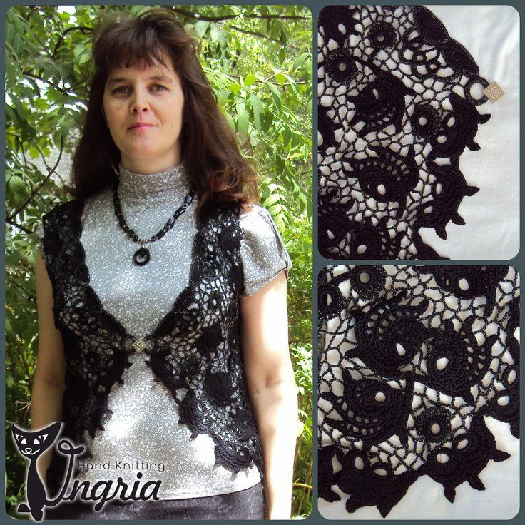Жилет Черный палисандр, вязание, ирландское кружево, irish crochet, автор Ингрия (Ingria).