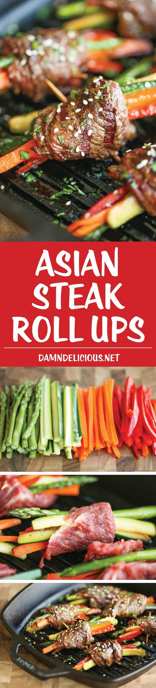 Asian Steak Roll Ups - Easy make-ahead roll ups with tons of veggies and the best Asian marinade loaded with so much flavor. Can be grilled or pan seared! @damndelicious