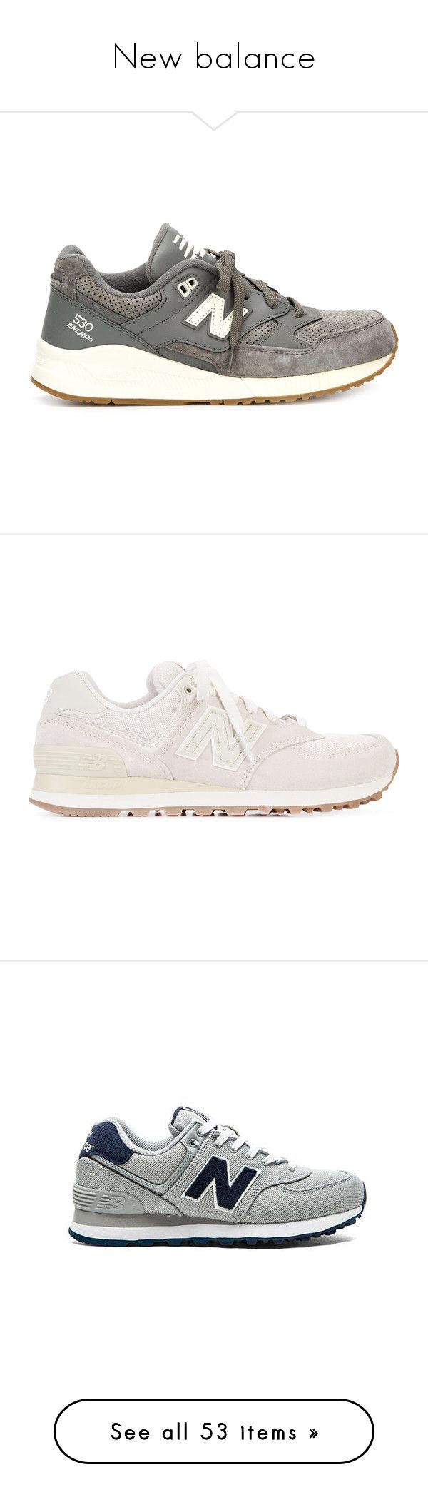 """New balance"" by petitaprenent ❤ liked on Polyvore featuring shoes, sneakers, grey, new balance sneakers, leather footwear, leather shoes, grey shoes, grey leather shoes, new balance trainers and flats sneakers"