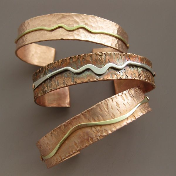 Hammered Copper Cuff Bracelets by Katie Mullins.                                                                                                                                                                                 More