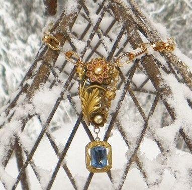 Victorian Czech Bridal Blue Purple OOAK Necklace by WillowBloom