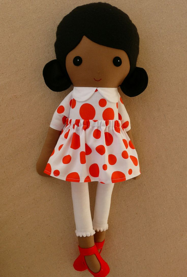 Fabric+Doll+Rag+Doll+Black+Haired+Girl+in+Dark+by+rovingovine,+$38.00