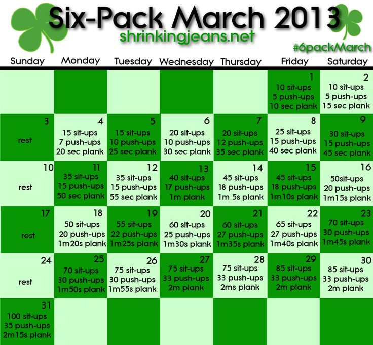 Six-Pack March, 2013 Edition. Fab Abs. Ripped. This could be you! Free monthly workout calendar from @shrinkingjeans.