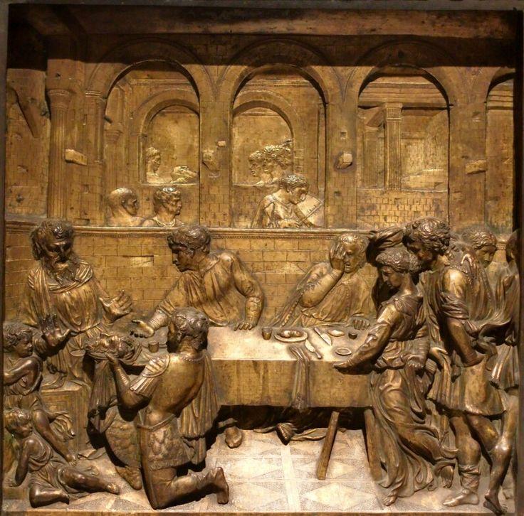 Banchetto  di Erode. Fonte Battesimale del Battistero del duomo di Siena.  1427