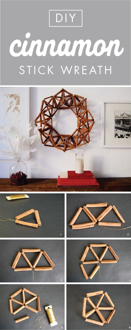 Cinnamon Stick Wreath: Transform a holiday classic into geometric modern art with this delicious-smelling DIY project. Who knew you could easily take this holiday classic and transform it into such a modern and geometric wall decor with one simple project?