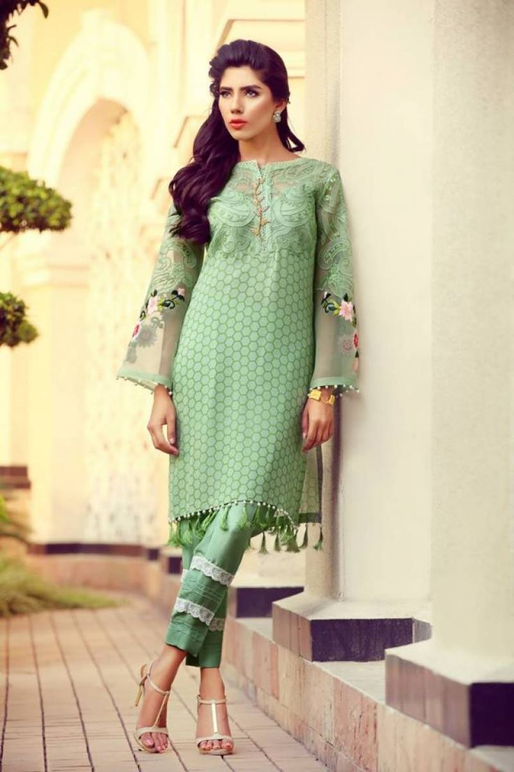 Bell Sleeves Pakistani Suit With Ankel Length Bottom