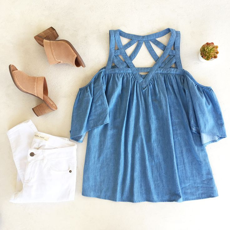 Cutout Denim Blouse!