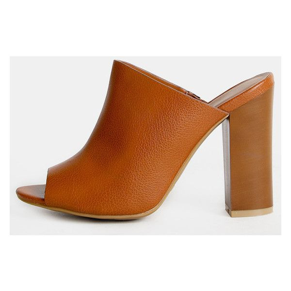 Open Toe Faux Leather Mules TAN ($27) ❤ liked on Polyvore featuring shoes, tan, faux leather shoes, open-toe mules, open toe mules shoes, open toe mules and chunky high heel shoes