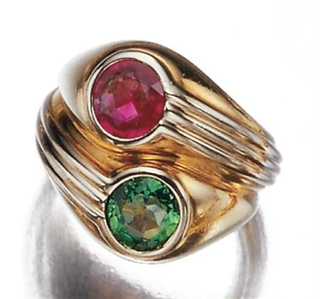 twocolor gold ruby and emerald twin stone ring bulgari 18 kt