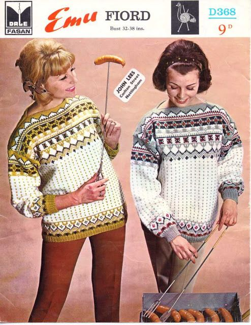 The Vintage Pattern Files: Free 1950's knitting Pattern - Emu D368 Women's Norwegian Sweater