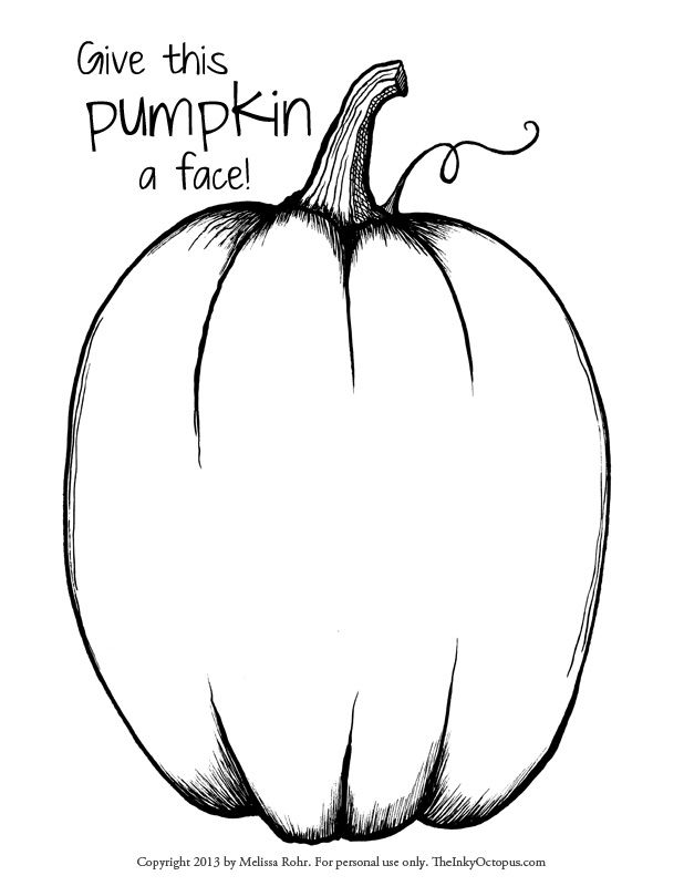 Printable Pumpkin coloring page from TheInkyOctopus.com. Click through for the full-sized image!