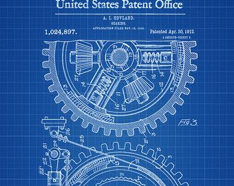 Mechanical Gearing 1912 Patent Poster Industrial by PatentPrints