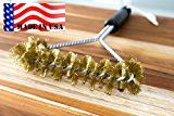 BEST BBQ Grill Brush 12  100% MADE IN USA -Heavy Duty BBQ Tool- BRASS extra wide two levels of bristles are soft safe for all Porcelain Enamel grates- Compare to imported Weber Grill Brush- Large 7 inch wide  BEST seller brush for your Weber or Char-Broil Grill Charcoal Gas Electric Infrared outdoor BBQ-Grills. Our ONE Year Guarantee-purchase Risk FREE-Look no further you have found the best BBQ Cleaning Brush to last for years
