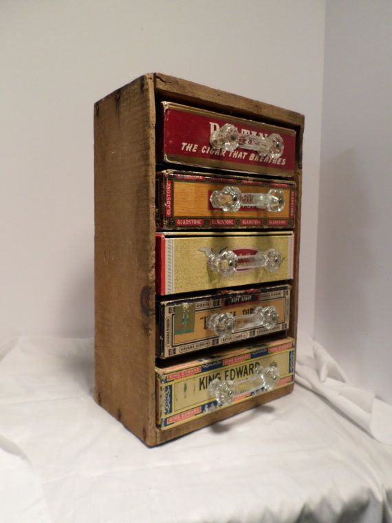 "Hand made Cabinet Storage Unit made from Vintage Cigar Box Drawers with 3"" Antique Glass Handles / Repurposed Wooden Box/ Decorative & Use"