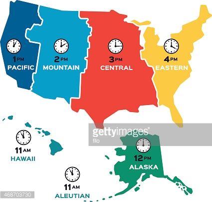 Vector Art United States Time Zones Flat Design