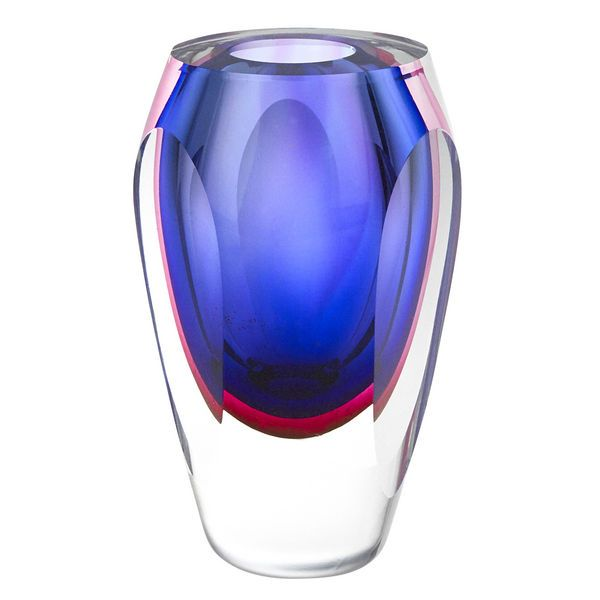 This small Murano-style art glass vase has colored layers through the glass for a stunning look. 6.5 inches tall