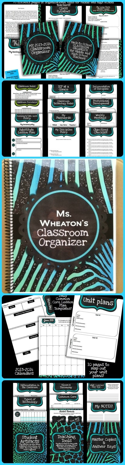 EDITABLE classroom organizer SPECIFICALLY for middle and high school teachers! $10