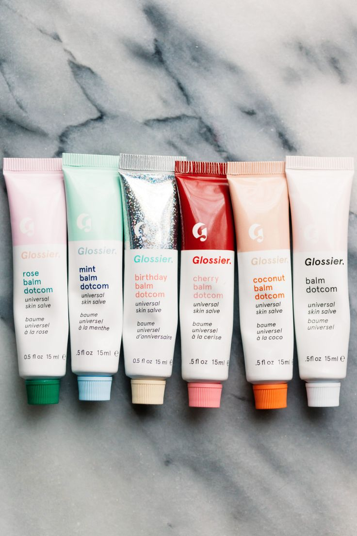 Glossier Balm Dotcom in Rose, Mint, Birthday, Cherry, Coconut and Original