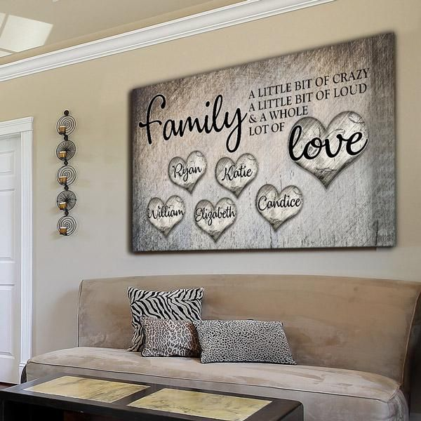 Personalized Family Love Premium Canvas Family Wall Decor Family Wall Art Family Wood Signs