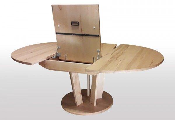 Tisch rund ausziehbar Kernbuche massiv   110cm Durchmesser ...