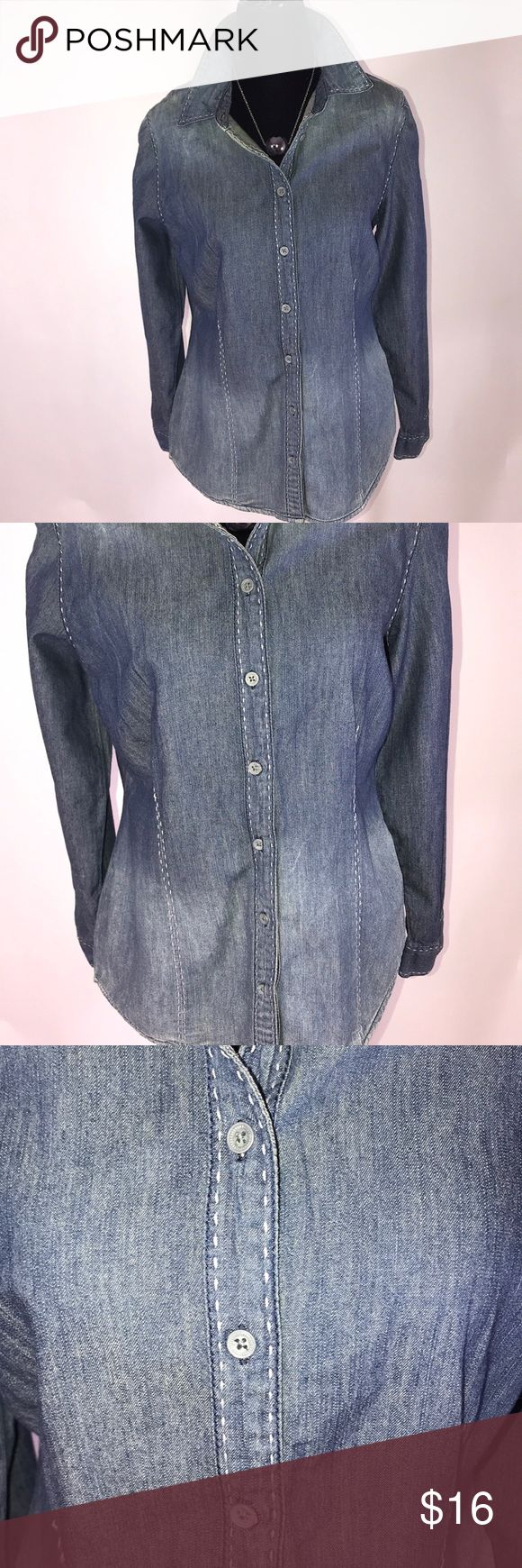 Beautiful denim inspired long sleeved shirt Beautiful denim inspired long sleeved shirt  With detailed stitching  Length 25 1/2 Sleeves 27 Pit to pit 18' Size small Nine West Tops Button Down Shirts