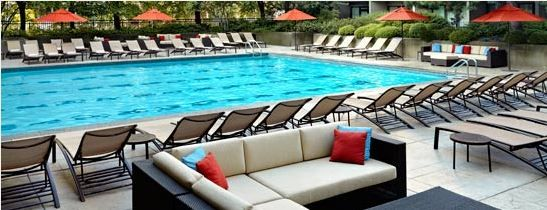 The Sheraton has an outdoor heated pool. $35 for a day pass, or free with a $30 spa purchase